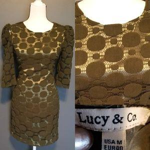 LUCY & Co . Olive green polka dot dress